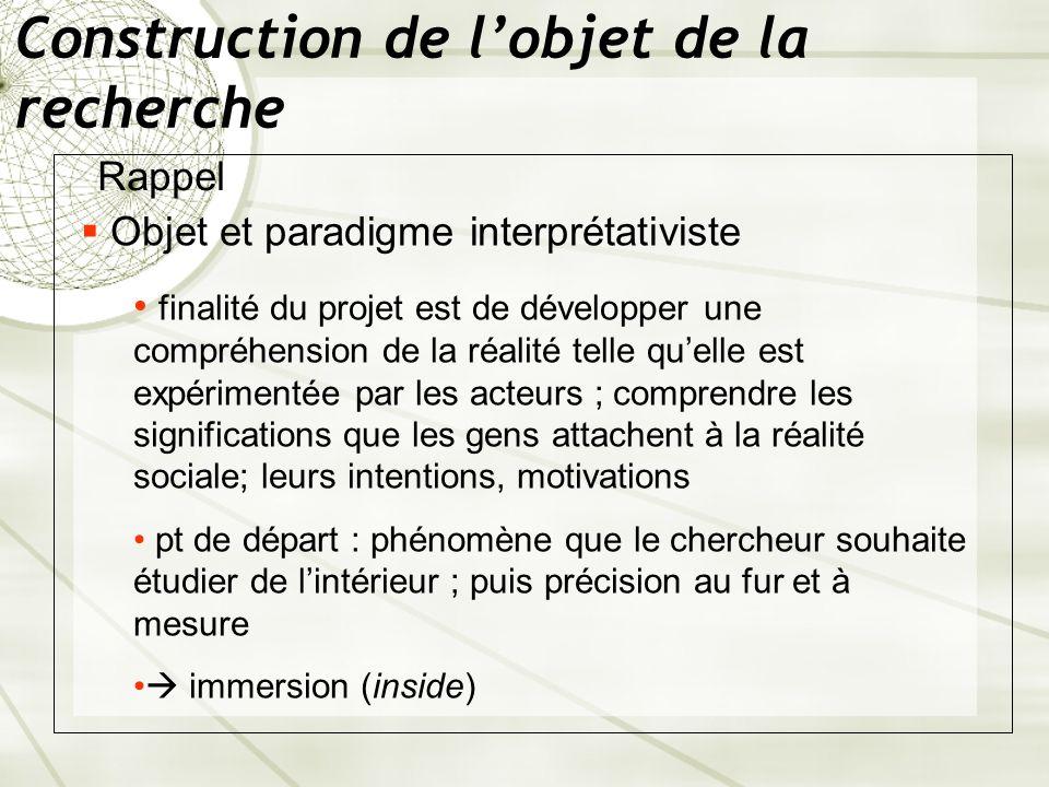 Construction de lobjet de la recherche Rappel Objet et paradigme interprétativiste finalité du projet est de développer une compréhension de la réalit