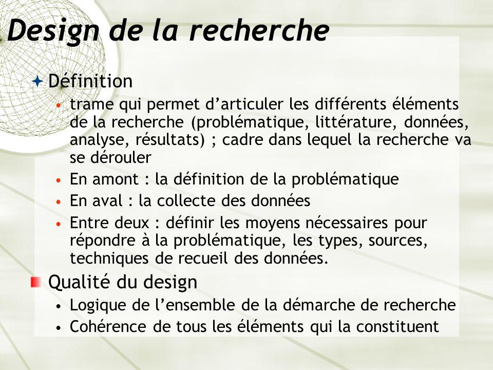 Design de la recherche Définition trame qui permet darticuler les différents éléments de la recherche (problématique, littérature, données, analyse, r