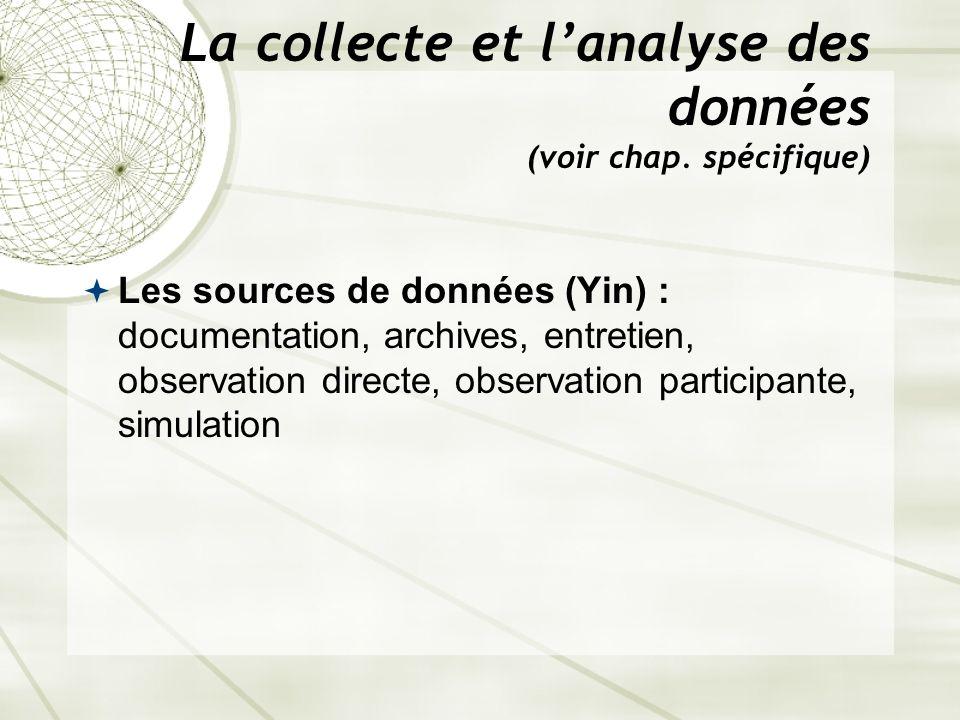 La collecte et lanalyse des données (voir chap. spécifique) Les sources de données (Yin) : documentation, archives, entretien, observation directe, ob
