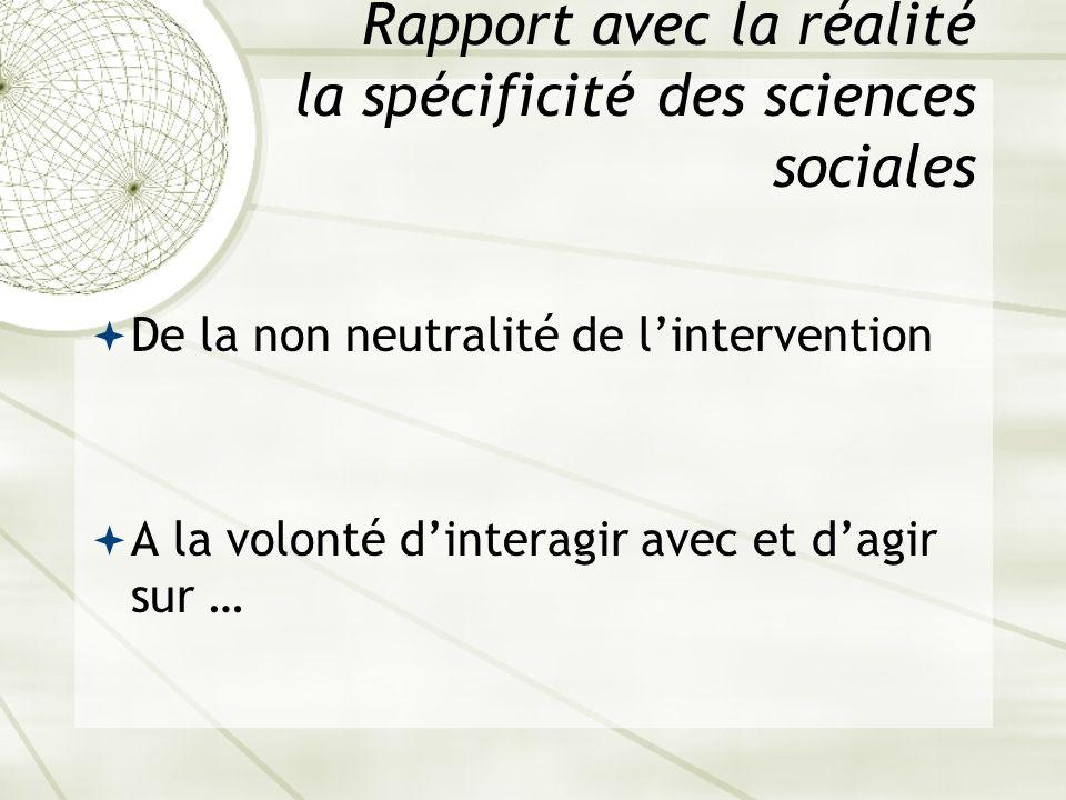 Rapport avec la réalité la spécificité des sciences sociales De la non neutralité de lintervention A la volonté dinteragir avec et dagir sur …
