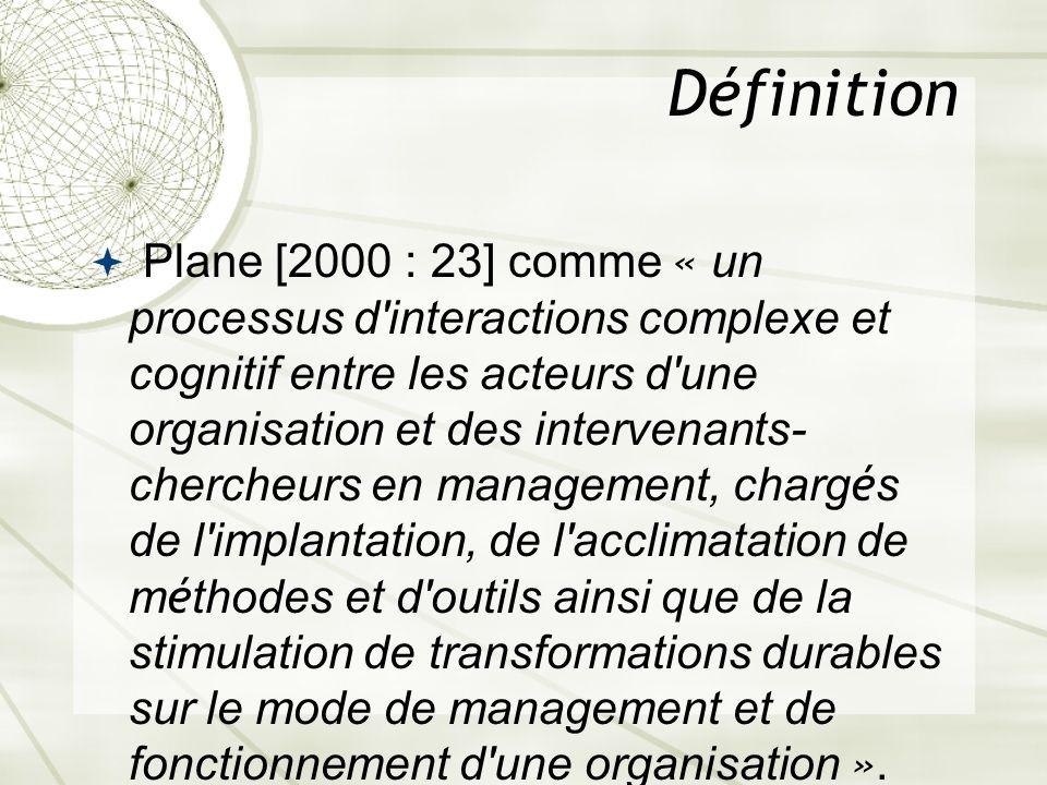 Définition Plane [2000 : 23] comme « un processus d'interactions complexe et cognitif entre les acteurs d'une organisation et des intervenants- cherch