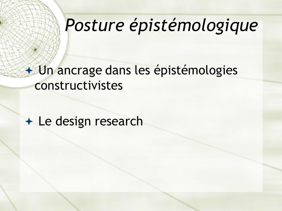 Posture épistémologique Un ancrage dans les épistémologies constructivistes Le design research