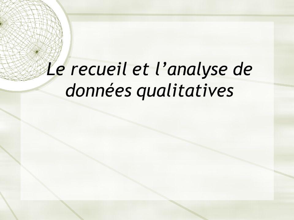 Le recueil et lanalyse de données qualitatives