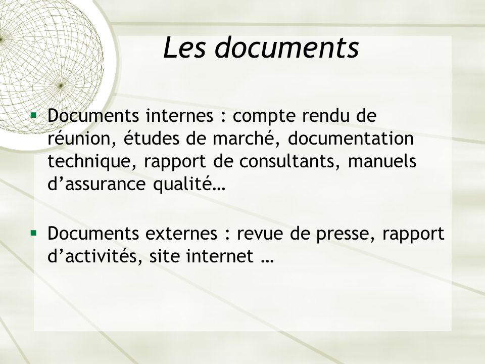 Les documents Documents internes : compte rendu de réunion, études de marché, documentation technique, rapport de consultants, manuels dassurance qual