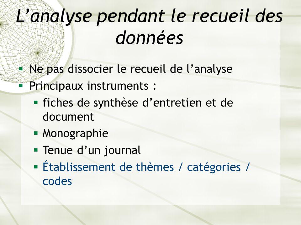 Lanalyse pendant le recueil des données Ne pas dissocier le recueil de lanalyse Principaux instruments : fiches de synthèse dentretien et de document