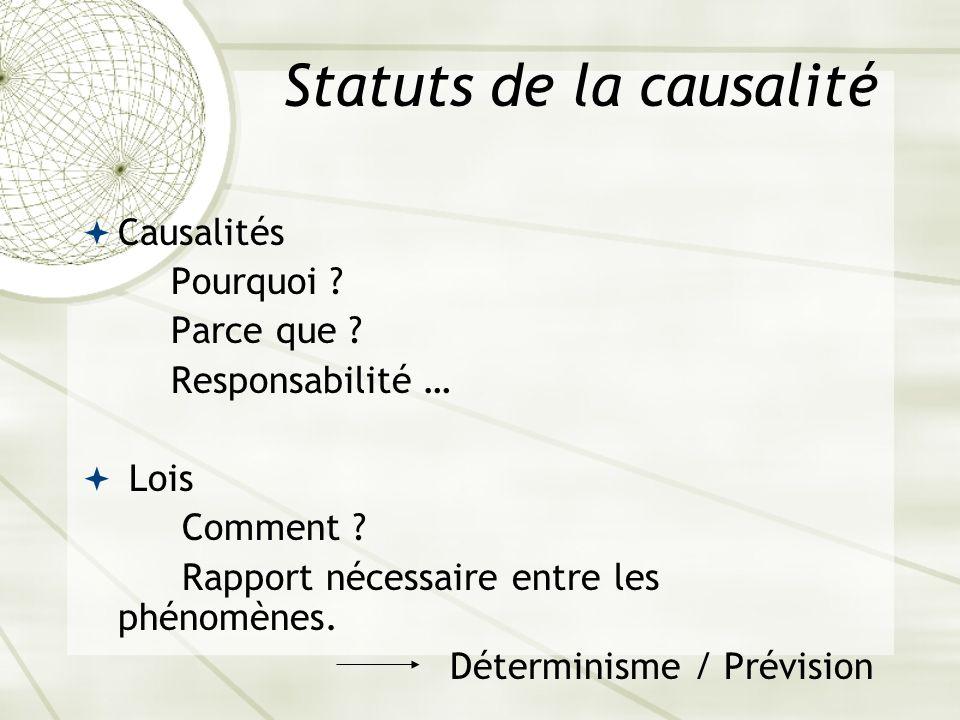 Statuts de la causalité Causalités Pourquoi ? Parce que ? Responsabilité … Lois Comment ? Rapport nécessaire entre les phénomènes. Déterminisme / Prév