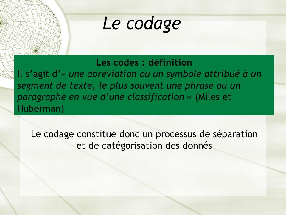 Le codage Les codes : définition Il sagit d« une abréviation ou un symbole attribué à un segment de texte, le plus souvent une phrase ou un paragraphe