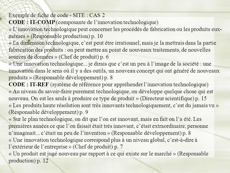 Exemple de fiche de code - SITE : CAS 2 CODE : IT-COMP (composante de linnovation technologique) « Linnovation technologique peut concerner les procéd