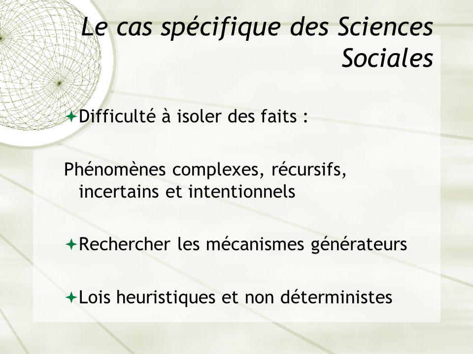 Le cas spécifique des Sciences Sociales Difficulté à isoler des faits : Phénomènes complexes, récursifs, incertains et intentionnels Rechercher les mé