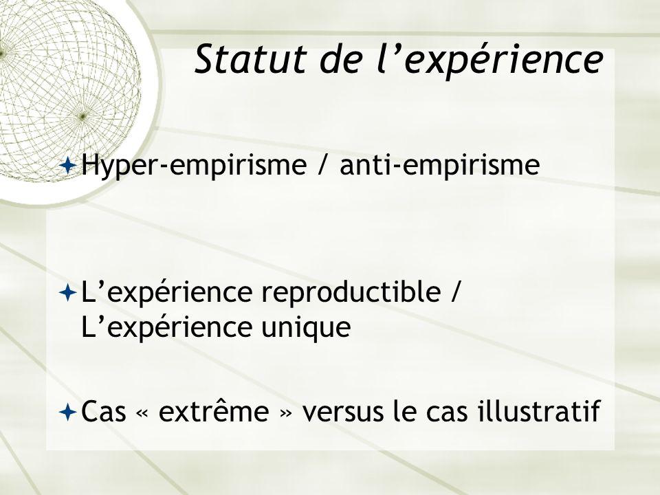 Statut de lexpérience Hyper-empirisme / anti-empirisme Lexpérience reproductible / Lexpérience unique Cas « extrême » versus le cas illustratif
