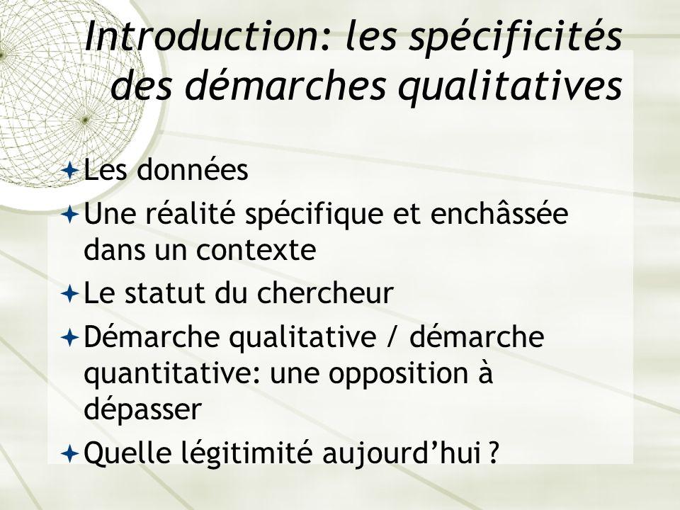 Introduction: les spécificités des démarches qualitatives Les données Une réalité spécifique et enchâssée dans un contexte Le statut du chercheur Déma