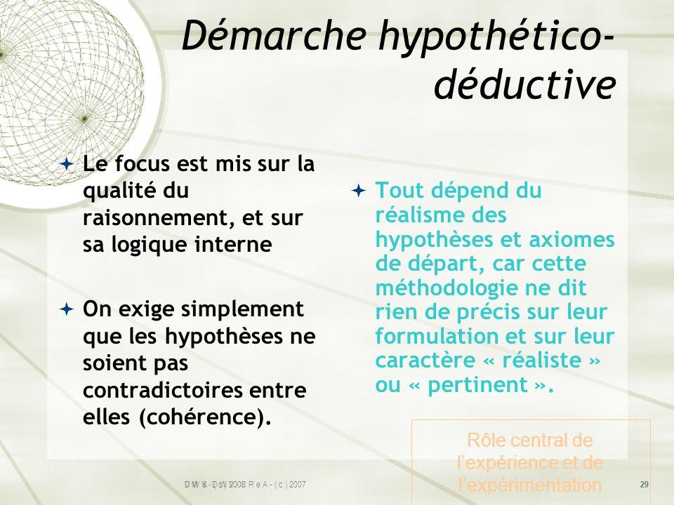 Démarche hypothético- déductive Le focus est mis sur la qualité du raisonnement, et sur sa logique interne On exige simplement que les hypothèses ne s