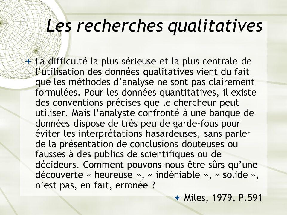 Les recherches qualitatives La difficulté la plus sérieuse et la plus centrale de lutilisation des données qualitatives vient du fait que les méthodes
