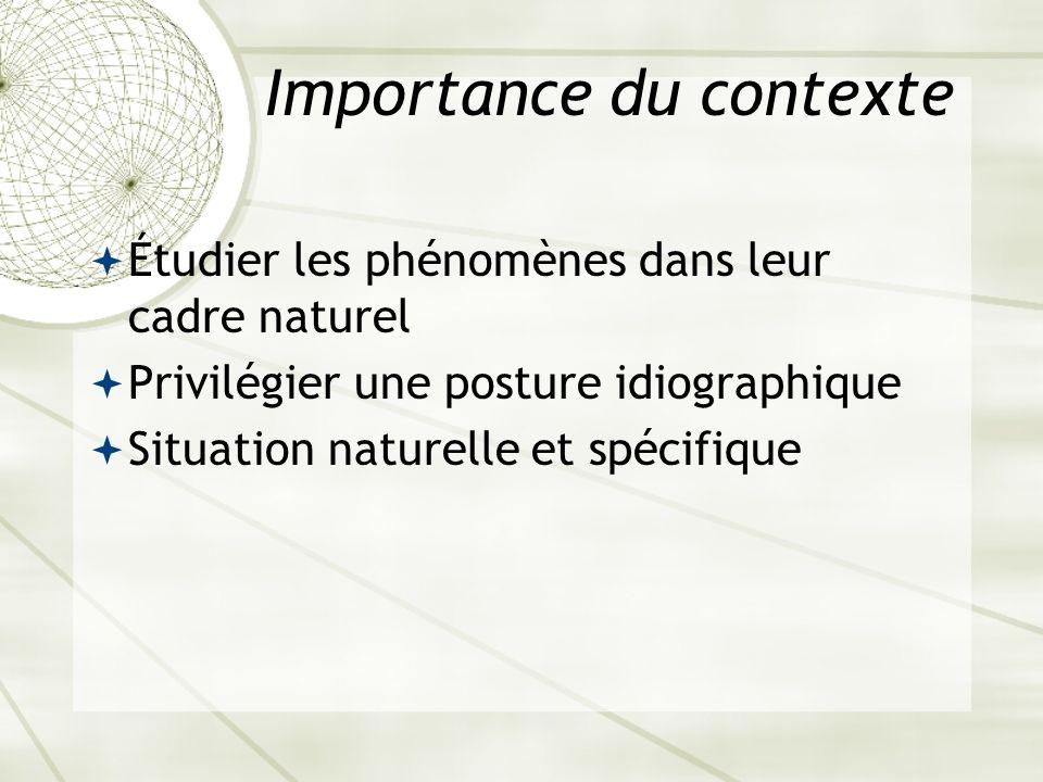 Importance du contexte Étudier les phénomènes dans leur cadre naturel Privilégier une posture idiographique Situation naturelle et spécifique