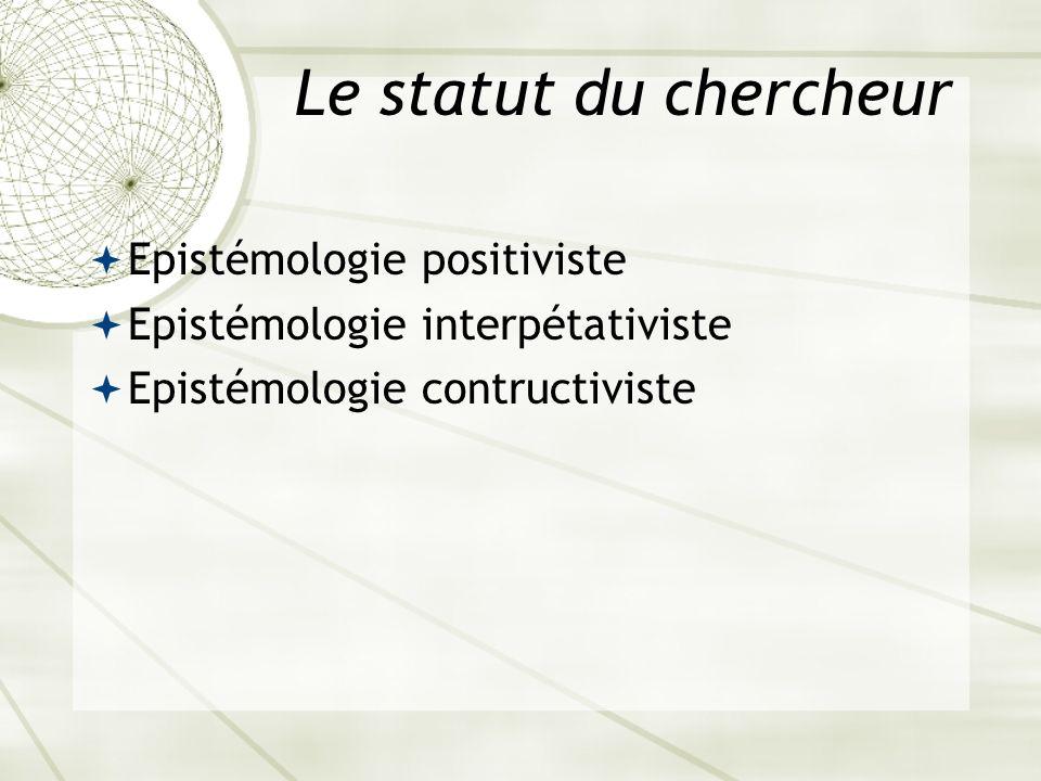 Le statut du chercheur Epistémologie positiviste Epistémologie interpétativiste Epistémologie contructiviste