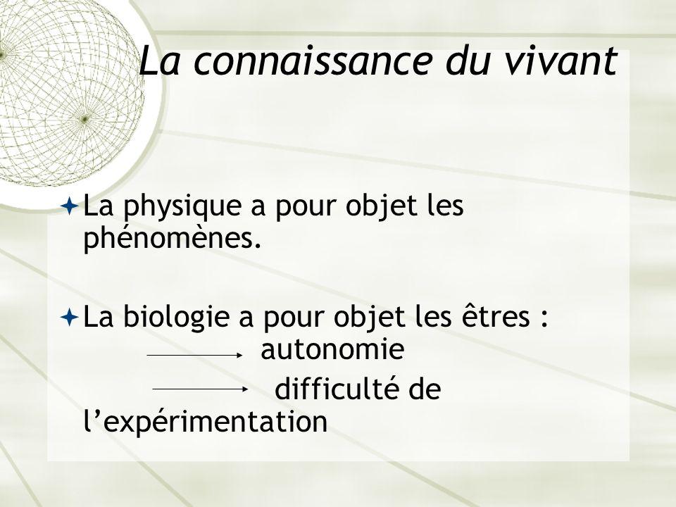 La connaissance du vivant La physique a pour objet les phénomènes. La biologie a pour objet les êtres : autonomie difficulté de lexpérimentation