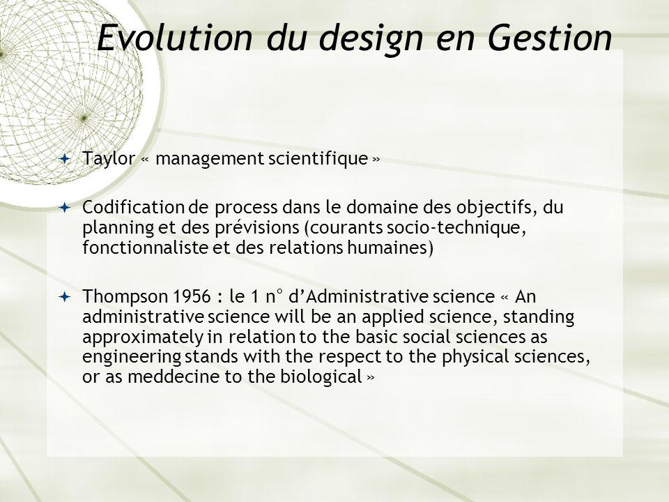 Evolution du design en Gestion Taylor « management scientifique » Codification de process dans le domaine des objectifs, du planning et des prévisions