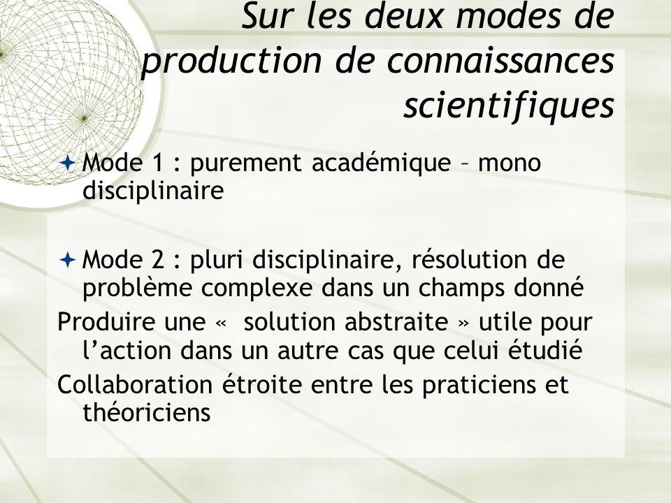 Sur les deux modes de production de connaissances scientifiques Mode 1 : purement académique – mono disciplinaire Mode 2 : pluri disciplinaire, résolu