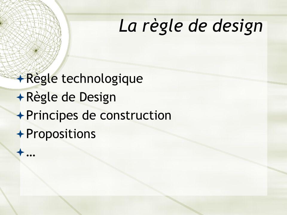 La règle de design Règle technologique Règle de Design Principes de construction Propositions …