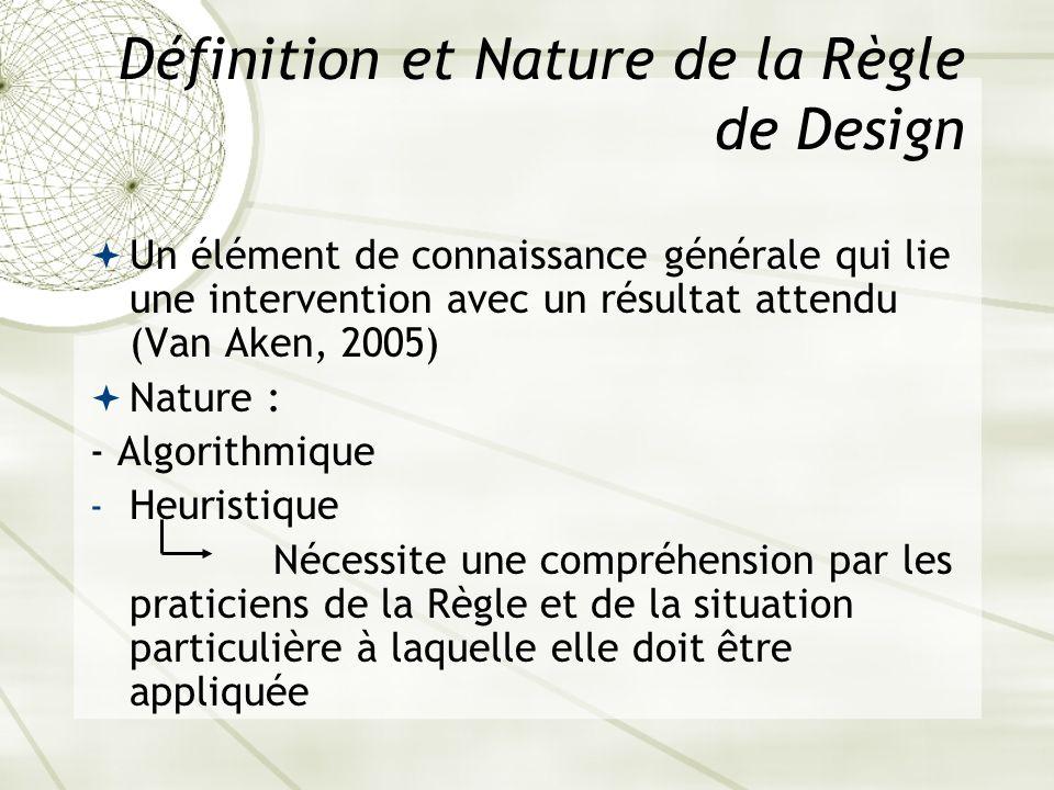 Définition et Nature de la Règle de Design Un élément de connaissance générale qui lie une intervention avec un résultat attendu (Van Aken, 2005) Natu