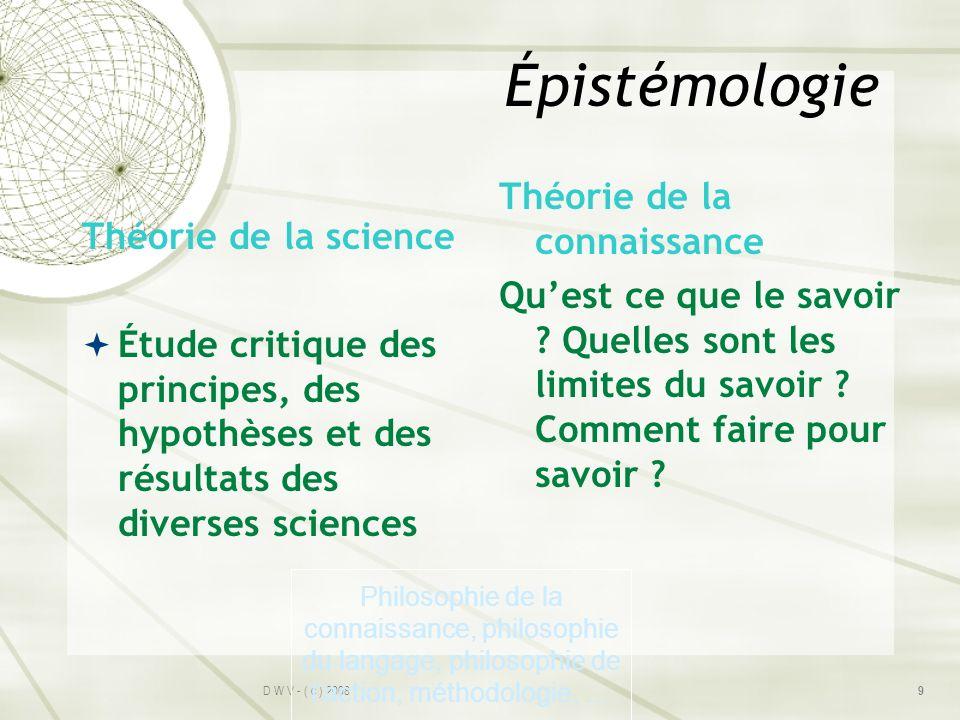Épistémologie Théorie de la science Étude critique des principes, des hypothèses et des résultats des diverses sciences Théorie de la connaissance Que