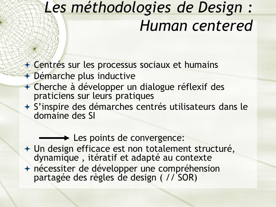 Les méthodologies de Design : Human centered Centrés sur les processus sociaux et humains Démarche plus inductive Cherche à développer un dialogue réf