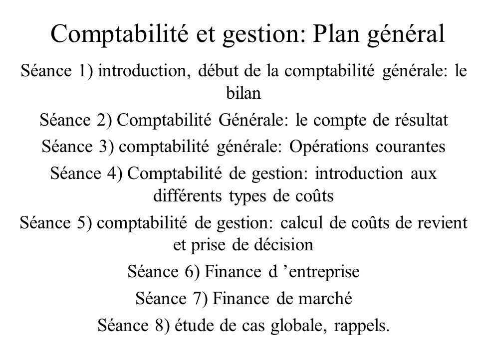Comptabilité et gestion: Plan général Séance 1) introduction, début de la comptabilité générale: le bilan Séance 2) Comptabilité Générale: le compte d