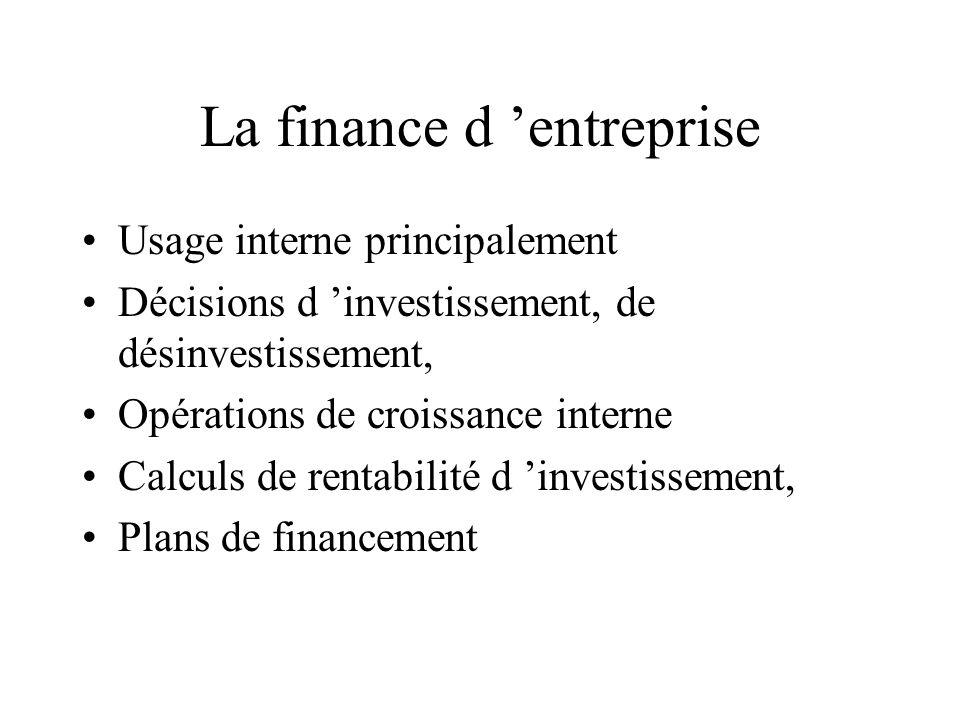 La finance d entreprise Usage interne principalement Décisions d investissement, de désinvestissement, Opérations de croissance interne Calculs de ren