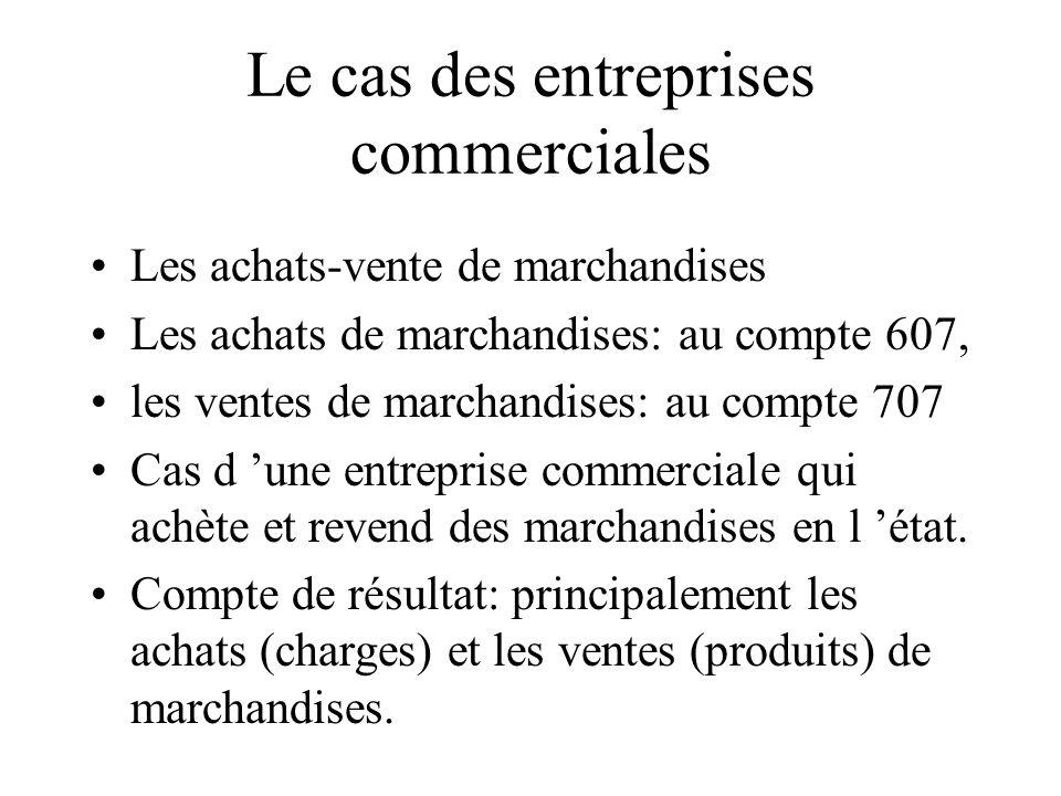 Le cas des entreprises commerciales Les achats-vente de marchandises Les achats de marchandises: au compte 607, les ventes de marchandises: au compte