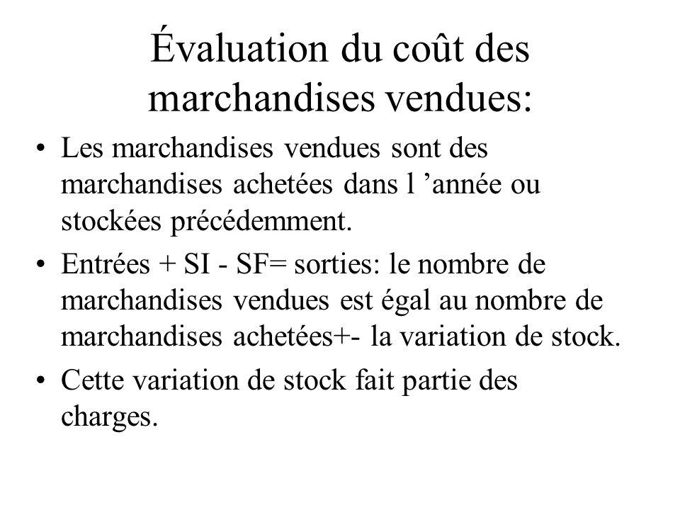 Évaluation du coût des marchandises vendues: Les marchandises vendues sont des marchandises achetées dans l année ou stockées précédemment. Entrées +