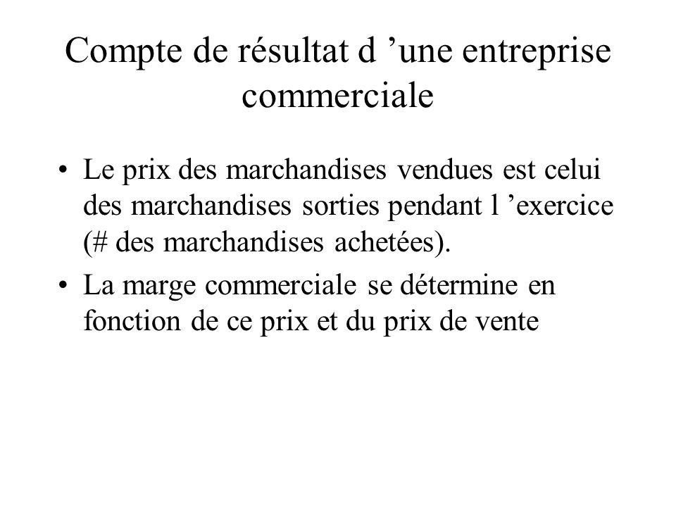 Compte de résultat d une entreprise commerciale Le prix des marchandises vendues est celui des marchandises sorties pendant l exercice (# des marchand