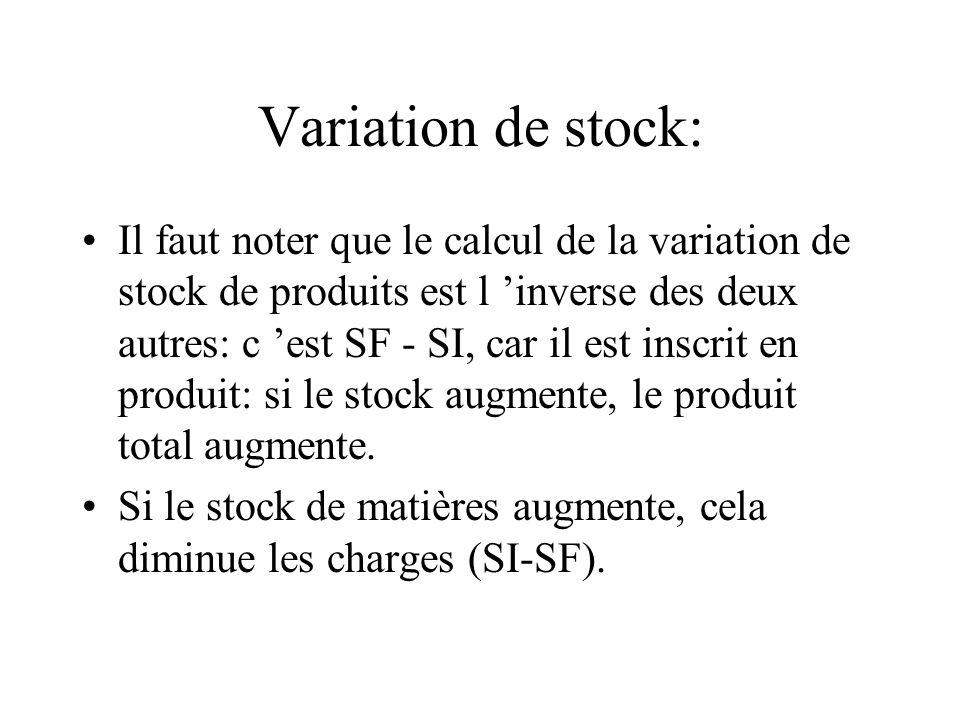 Variation de stock: Il faut noter que le calcul de la variation de stock de produits est l inverse des deux autres: c est SF - SI, car il est inscrit