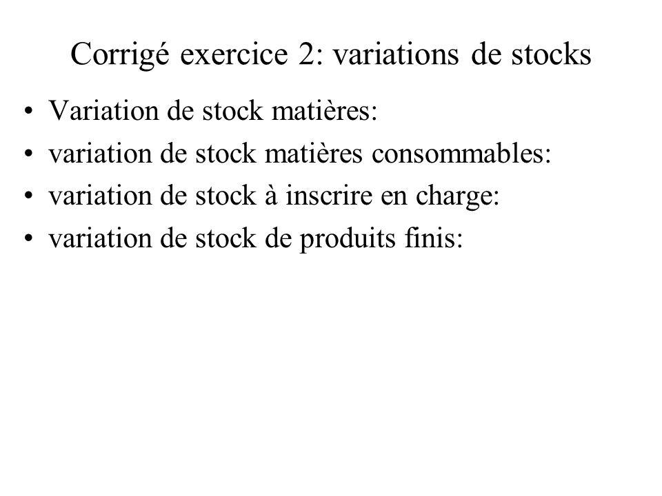 Corrigé exercice 2: variations de stocks Variation de stock matières: variation de stock matières consommables: variation de stock à inscrire en charg