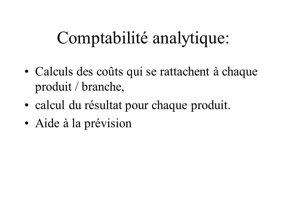 Comptabilité analytique: Calculs des coûts qui se rattachent à chaque produit / branche, calcul du résultat pour chaque produit. Aide à la prévision