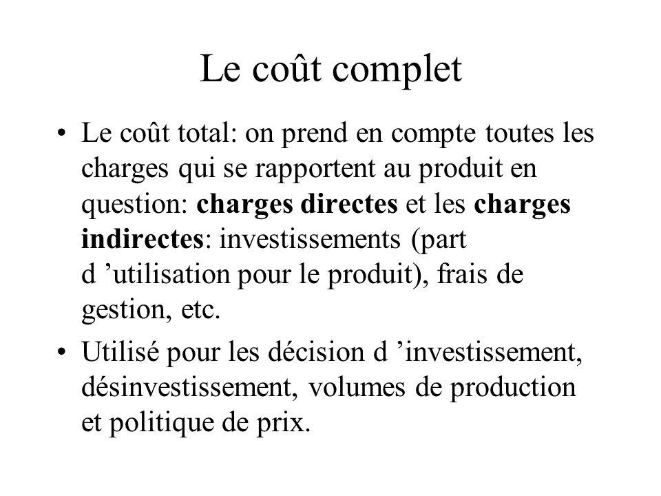 Le coût complet Le coût total: on prend en compte toutes les charges qui se rapportent au produit en question: charges directes et les charges indirec
