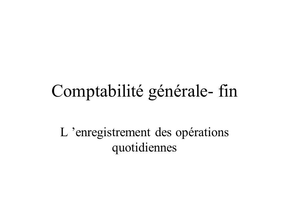 Comptabilité générale- fin L enregistrement des opérations quotidiennes