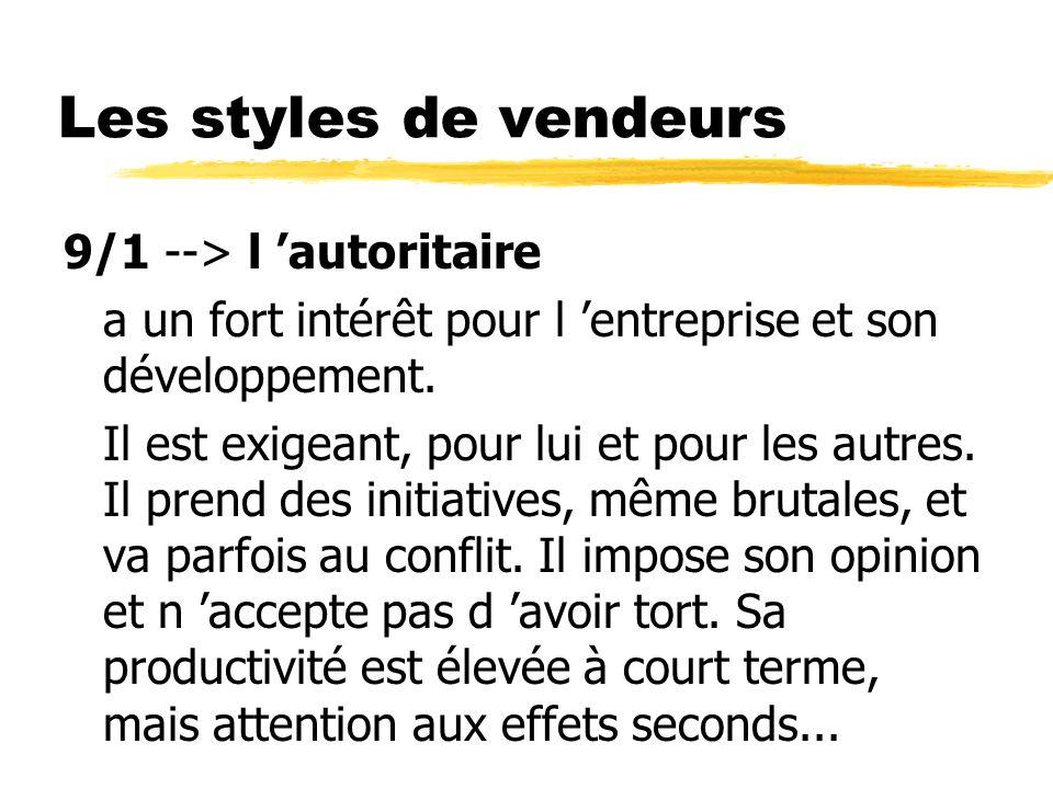 Les styles de vendeurs 9/1 --> l autoritaire a un fort intérêt pour l entreprise et son développement. Il est exigeant, pour lui et pour les autres. I