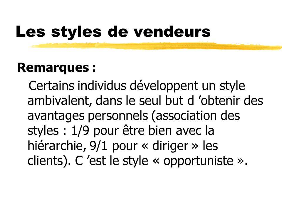 Les styles de vendeurs Remarques : Certains individus développent un style ambivalent, dans le seul but d obtenir des avantages personnels (associatio
