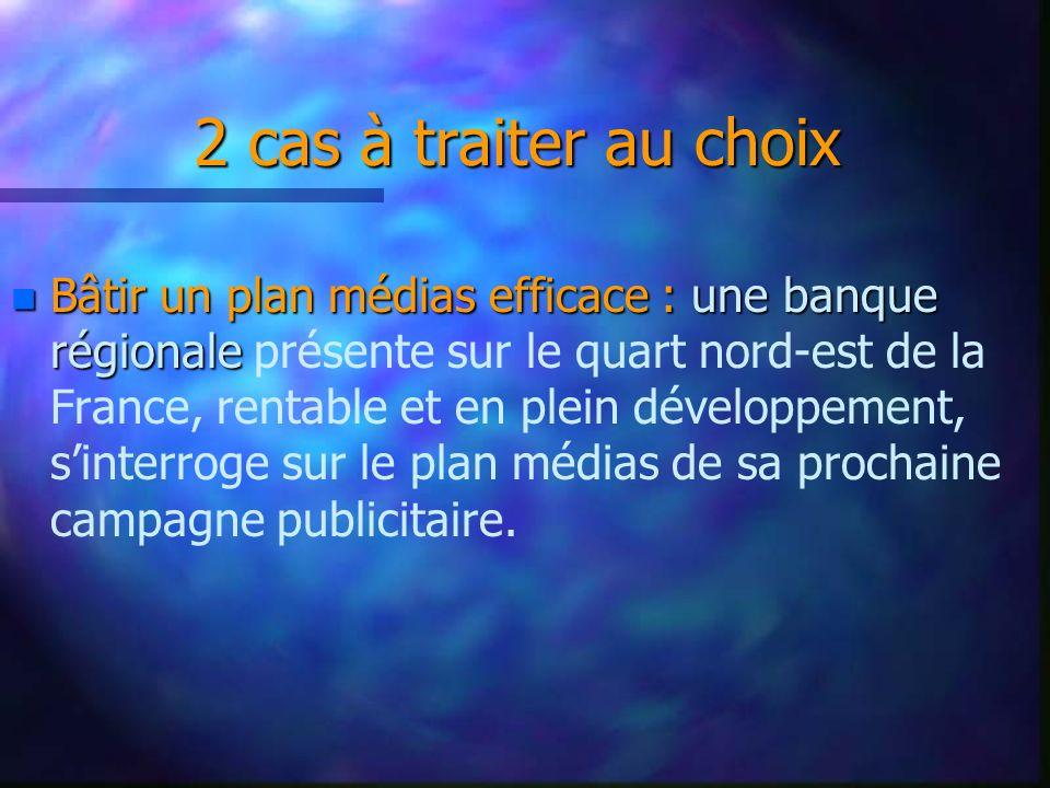 2 cas à traiter au choix 2 cas à traiter au choix Projet « Strasbourg Plus » : Projet « Strasbourg Plus » : Un groupe de presse, fortement implanté dans sa région, est confronté à lapparition successive de deux concurrents directs : Metro et 20 minutes qui sattaquent à ses deux marchés : son lectorat et ses annonceurs.