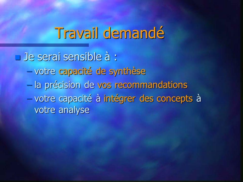 Travail demandé n Je serai sensible à : –votre capacité de synthèse –la précision de vos recommandations –votre capacité à intégrer des concepts à votre analyse