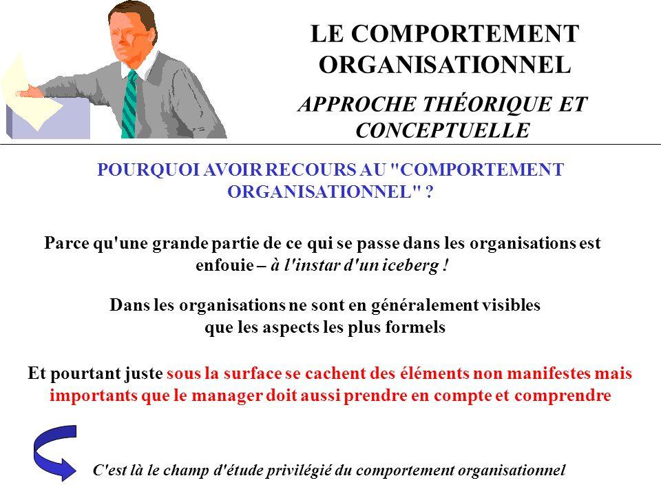 LE COMPORTEMENT ORGANISATIONNEL APPROCHE THÉORIQUE ET CONCEPTUELLE POURQUOI AVOIR RECOURS AU COMPORTEMENT ORGANISATIONNEL .