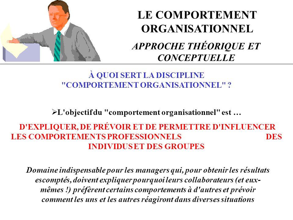 LE COMPORTEMENT ORGANISATIONNEL APPROCHE THÉORIQUE ET CONCEPTUELLE À QUOI SERT LA DISCIPLINE COMPORTEMENT ORGANISATIONNEL .