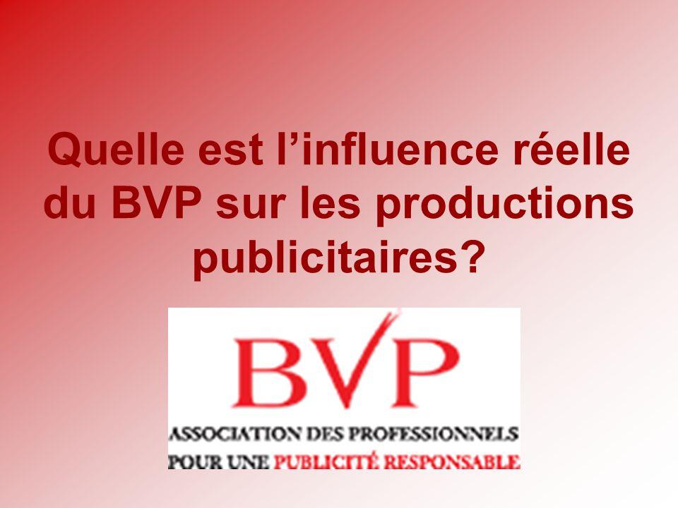 Quelle est linfluence réelle du BVP sur les productions publicitaires?