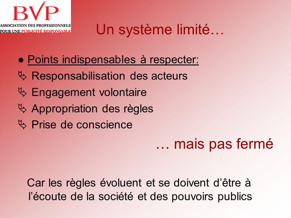 Un système limité… Points indispensables à respecter: Responsabilisation des acteurs Engagement volontaire Appropriation des règles Prise de conscienc