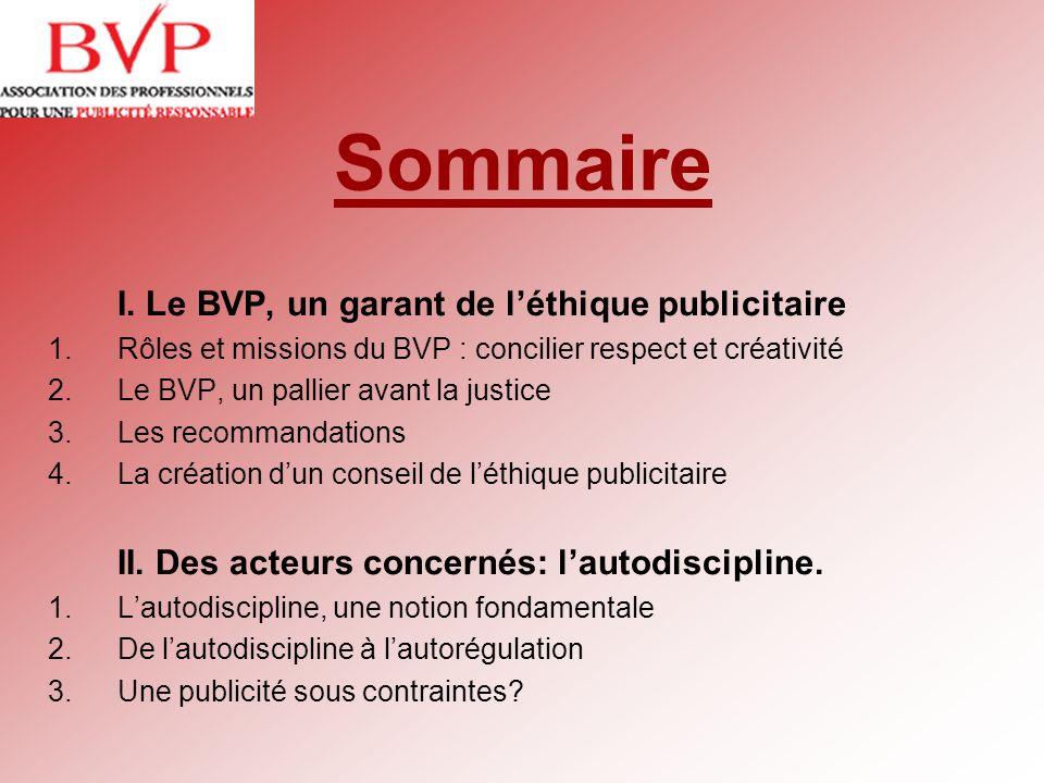 Sommaire I. Le BVP, un garant de léthique publicitaire 1.Rôles et missions du BVP : concilier respect et créativité 2.Le BVP, un pallier avant la just