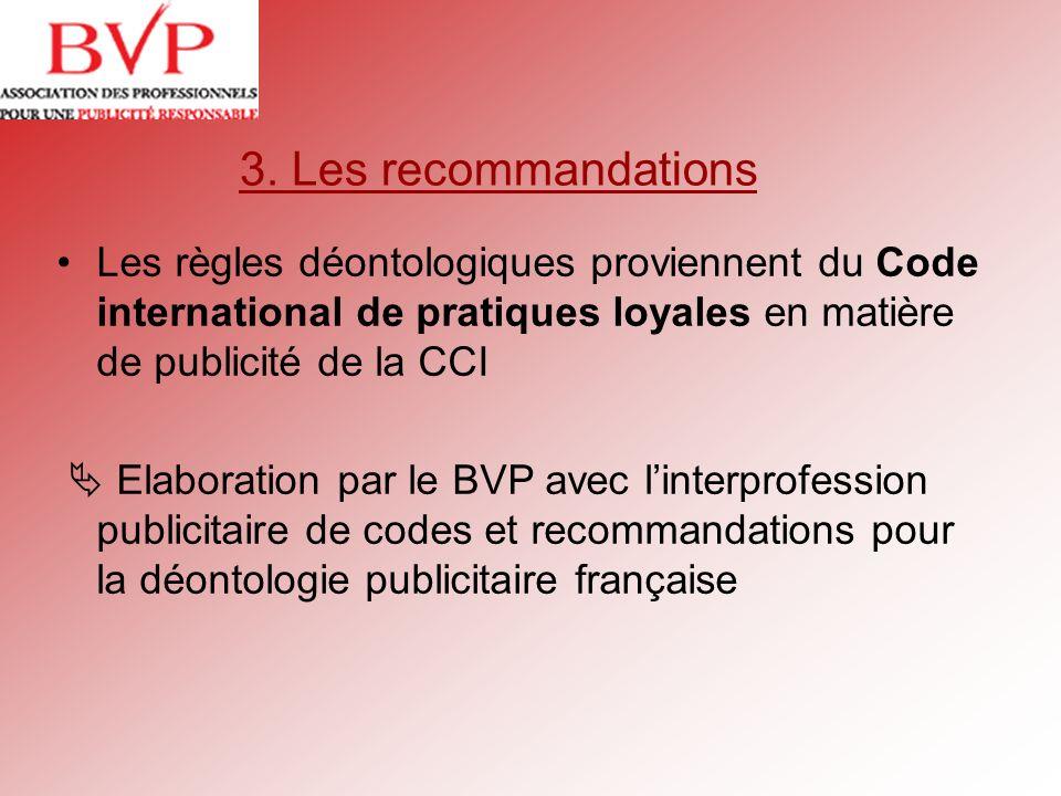 3. Les recommandations Les règles déontologiques proviennent du Code international de pratiques loyales en matière de publicité de la CCI Elaboration