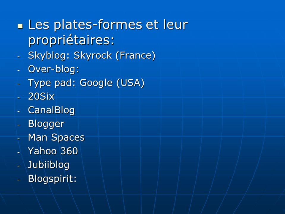 Les plates-formes et leur propriétaires: Les plates-formes et leur propriétaires: - Skyblog: Skyrock (France) - Over-blog: - Type pad: Google (USA) - 20Six - CanalBlog - Blogger - Man Spaces - Yahoo 360 - Jubiiblog - Blogspirit: