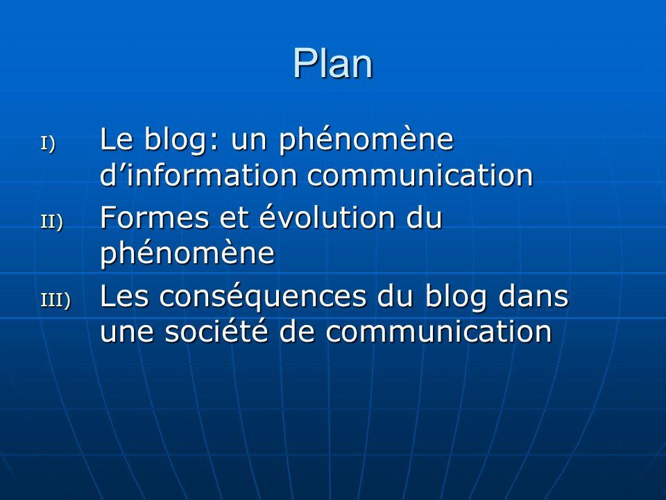 Plan I) Le blog: un phénomène dinformation communication II) Formes et évolution du phénomène III) Les conséquences du blog dans une société de communication