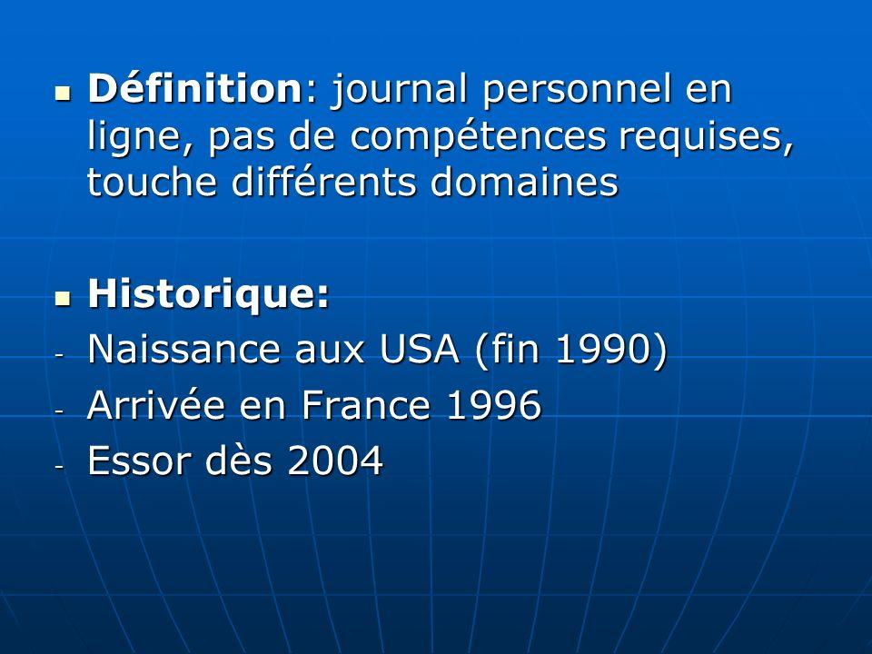 Définition: journal personnel en ligne, pas de compétences requises, touche différents domaines Définition: journal personnel en ligne, pas de compétences requises, touche différents domaines Historique: Historique: - Naissance aux USA (fin 1990) - Arrivée en France 1996 - Essor dès 2004