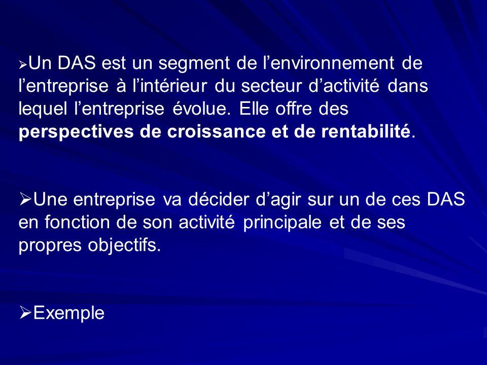 Un DAS est un segment de lenvironnement de lentreprise à lintérieur du secteur dactivité dans lequel lentreprise évolue. Elle offre des perspectives d